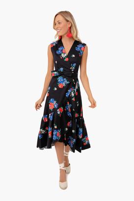 Tory Burch Black Tea Rose Printed Wrap Dress