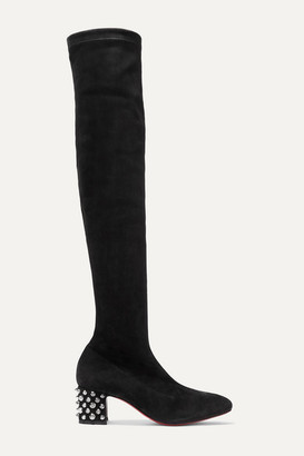 Christian Louboutin Study Stretch 55 Spiked Suede Over-the-knee Boots - Black