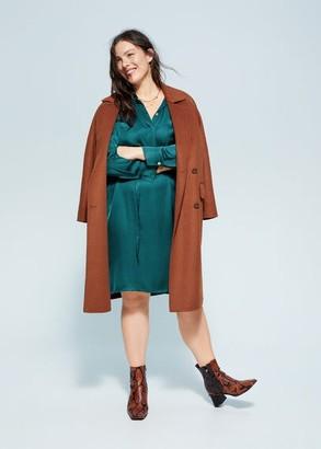 MANGO Violeta BY Satin shirt dress emerald green - 18 - Plus sizes