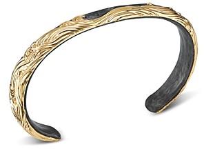 David Yurman 18K Yellow Gold & Forged Carbon Waves Cuff Bracelet