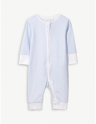 The Little White Company Striped zip-up sleepsuit 0-24 months
