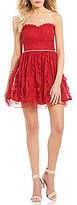 Jodi Kristopher Strapless Beaded-Waist Lace Fit and Flare Dress