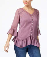 Style&Co. Style & Co Petite Crochet-Trim Ruffled Blouse, Created for Macy's