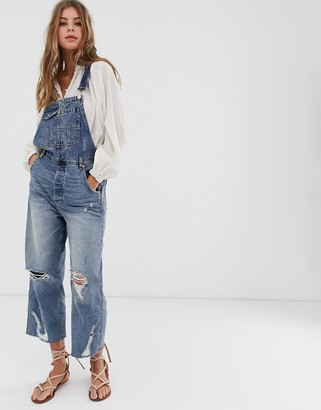 Free People Baggy boyfriend fit dungaree's-Blue
