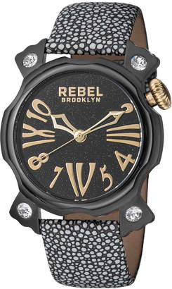 Rebel Brooklyn 44mm Coney Island Watch w/ Leather Strap, Black