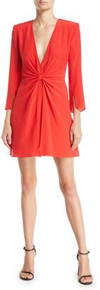 Emporio Armani Deep-V Gathered 3/4-Sleeve Silk Crepe Short Cocktail Dress