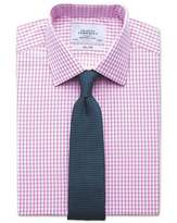 Charles Tyrwhitt Slim Fit Gingham Pink Cotton Dress Casual Shirt French Cuff Size 14.5/33