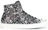 Philipp Plein graffiti print hi-top sneakers