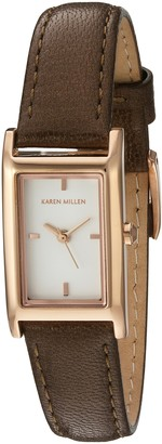 Karen Millen Women's Quartz Watch with White Dial Analogue Display and Brown Leather Strap KM114TRG