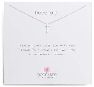 Dogeared Sterling Silver Have Faith Long Cross Chain Necklace