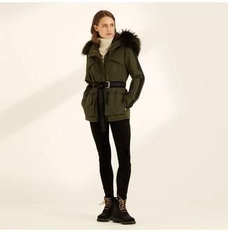 Amanda Wakeley The Elements Parka In Khaki With Fur Hood