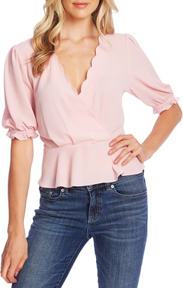 CeCe Scalloped Peplum Blouse