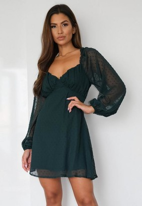 Missguided Green Dobby Long Sleeve Milkmaid Skater Dress