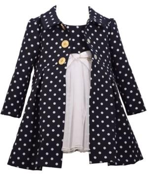 Bonnie Jean Toddler Girls Polka Dot Poplin Coat with Dress