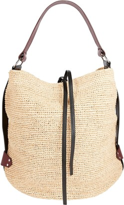 Isabel Marant Bayia Leather-Trimmed Straw Bag
