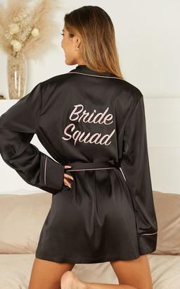 Showpo Ellena Bridesmaid Robe in black satin - 4 (XXS) Robes