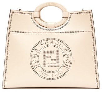 Fendi Runaway Large Perforated-logo Leather Tote Bag - Womens - Beige