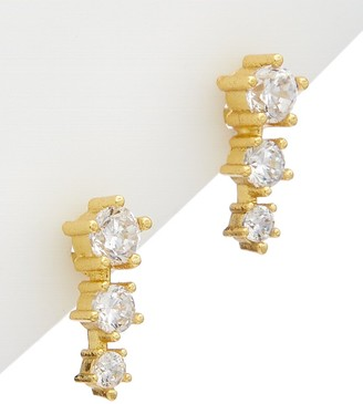 Alanna Bess Limited Collection 14K Over Silver Cz Three Stone Studs