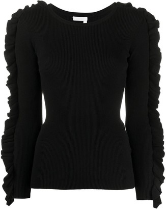 Chloé ruffle-trimmed ribbed sweater