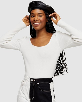 Topshop Scoop Neck Pleat Knitted Top