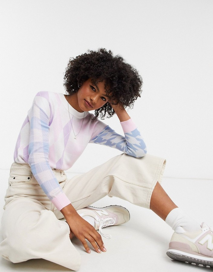 Gianni Feraud crew neck sweater in mixed pastel check