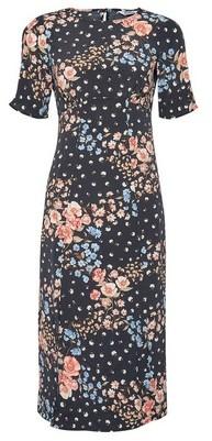 Dorothy Perkins Womens Dp Petite Black Floral Print Empire Seam Midi Dress With Front Spilts., Black
