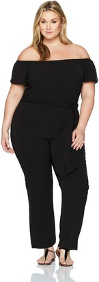 Tahari by Arthur S. Levine Women's Plus Size Cold Shoulder Pebble Crepe Jumpsuit