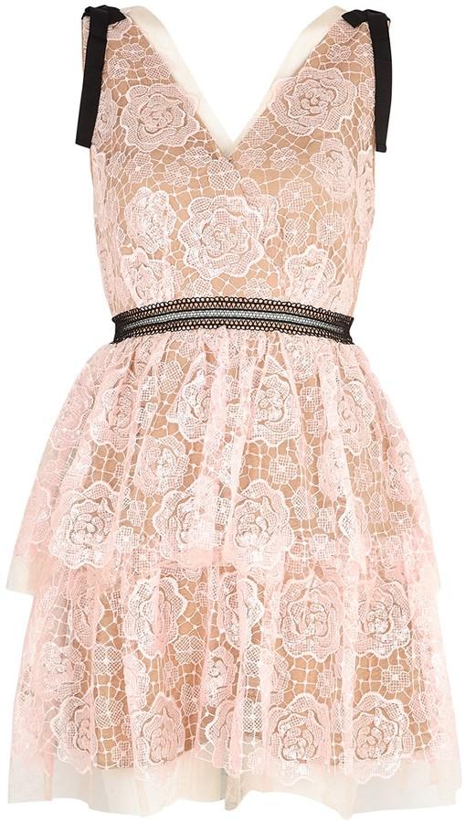 Self-Portrait Starlet Rose sequin-embellished lace mini dress