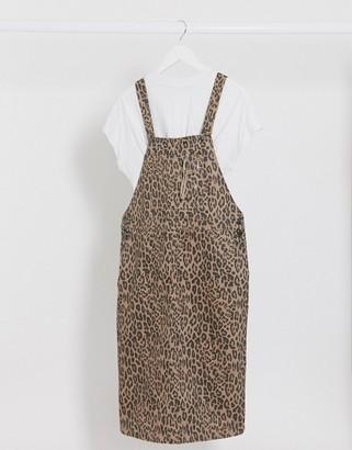 Monki leopard print pinafore