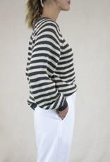 Busby & Fox - Lana Striped Long Sleeve Sweater - large | black stripes