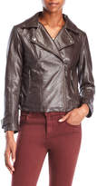 Max Studio Petite Faux Leather Asymmetrical Moto Jacket
