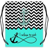 """Stylish Drawstring Bags Colorblock Chevron Zigzag Infinity Anchor Quotes I Refuse to Sink Basketball Drawstring Backpack Bags, Sport Ball Bag - 16.5""""(W) x 19.3""""(H), Twin-sided Print"""