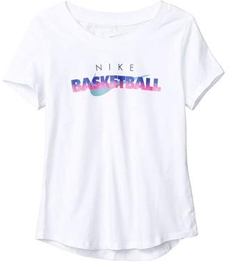 Nike Kids NSW Tee Scoop Basketball (Little Kids/Big Kids) (White) Girl's T Shirt