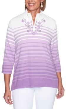 Alfred Dunner Petite Long Weekend Ombre Striped Top