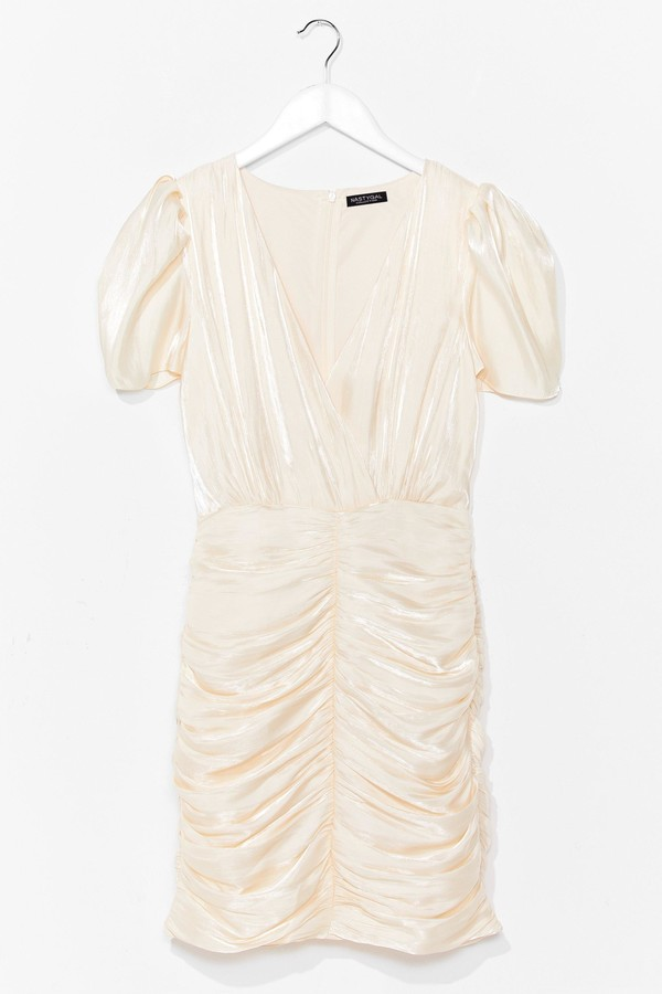 Nasty Gal Womens Satin Pleated Ruched Mini Dress - Beige - L