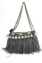 Elliot Mann Gray Small Beaded Macrame Fringe Shoulder Handbag