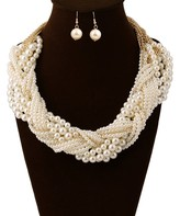 Ella & Elly Women's Necklaces White - White Imitation Pearl Statement Necklace & Drop Earrings