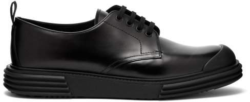 Prada Raised Sole Leather Derby Shoes - Mens - Black