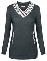 Cyanstyle Womens Sweatshirts Long Sleeve Cowl Neck Sweatshirts Tunic Casual Pullover with Pockets Deep Grey Small