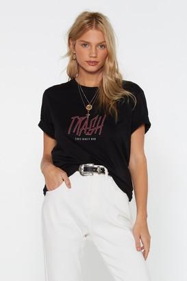 Nasty Gal Womens Recycled Polycotton Slogan T-Shirt - Black - S