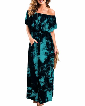 ABYOXI Womens Off The Shoulder Ruffle Party Dresses Tie Dye Split Maxi Long Dress Black + Cyan XL