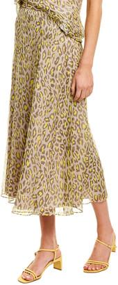 Theory Leopard Silk Midi Skirt
