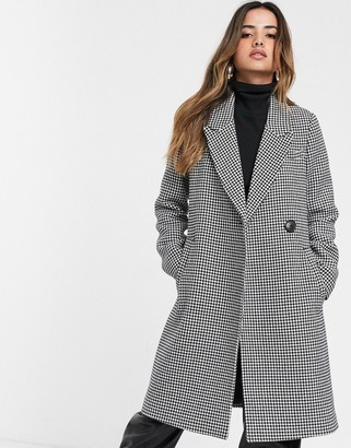 Stradivarius wool coat with belt in dog tooth