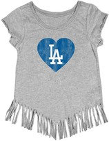 Unbranded Girls Youth Soft as a Grape Gray Los Angeles Dodgers Raw Edge Fringe T-Shirt
