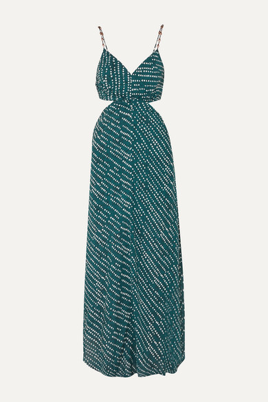 Vix Ventana Ocean Cutout Printed Voile Maxi Dress - Navy
