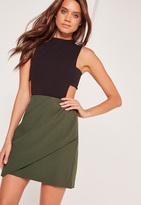 Missguided Drape Front Panel Mini Skirt Khaki