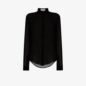 Saint Laurent Collared sheer silk shirt