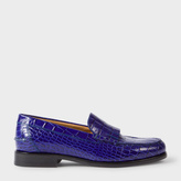 Paul Smith Women's Blue Mock Croc Leather 'Lennox' Fringed Loafers