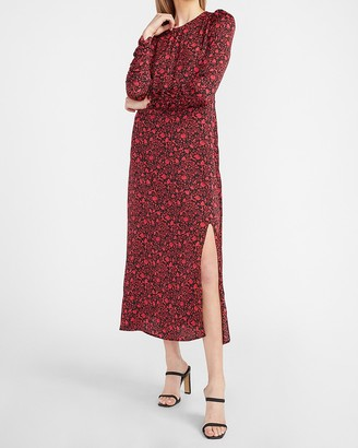 Express Floral Ruched Sleeve Midi Dress