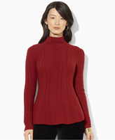 Lauren Ralph Lauren Sweater, Long-Sleeve Cable-Knit Peplum Mock-Neck